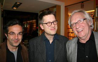 Jan Wagner (M.) mit Navid Kermani und Claus Leggewie